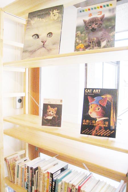 こちらは猫本のコーナーです。絵本から写真集、小説まで。まだまだ揃えます!